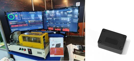 '모터센스' 실제 모니터링 화면(왼쪽)과 50g 무게의 '모터센스' IoT 무선 진동 센서.